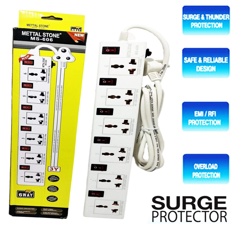 Surge Protector 3 5 m Metal Stone 6A 240V 6 Socket Spike Guard Surge Protectors