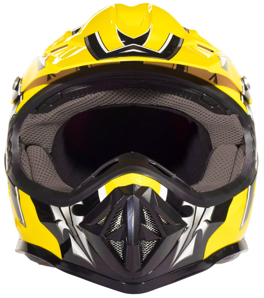 Youth Kids Offroad Gear Combo Helmet Gloves Goggles DOT Motocross ATV Dirt Bike MX Motorcycle Yellow X-