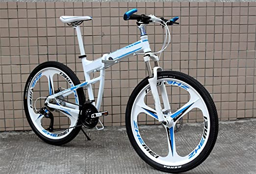MASLEID Bicicleta de montaña de aluminio plegable de 27 motos deportivas de velocidad de 26 pulgadas , white blue: Amazon.es: Deportes y aire libre