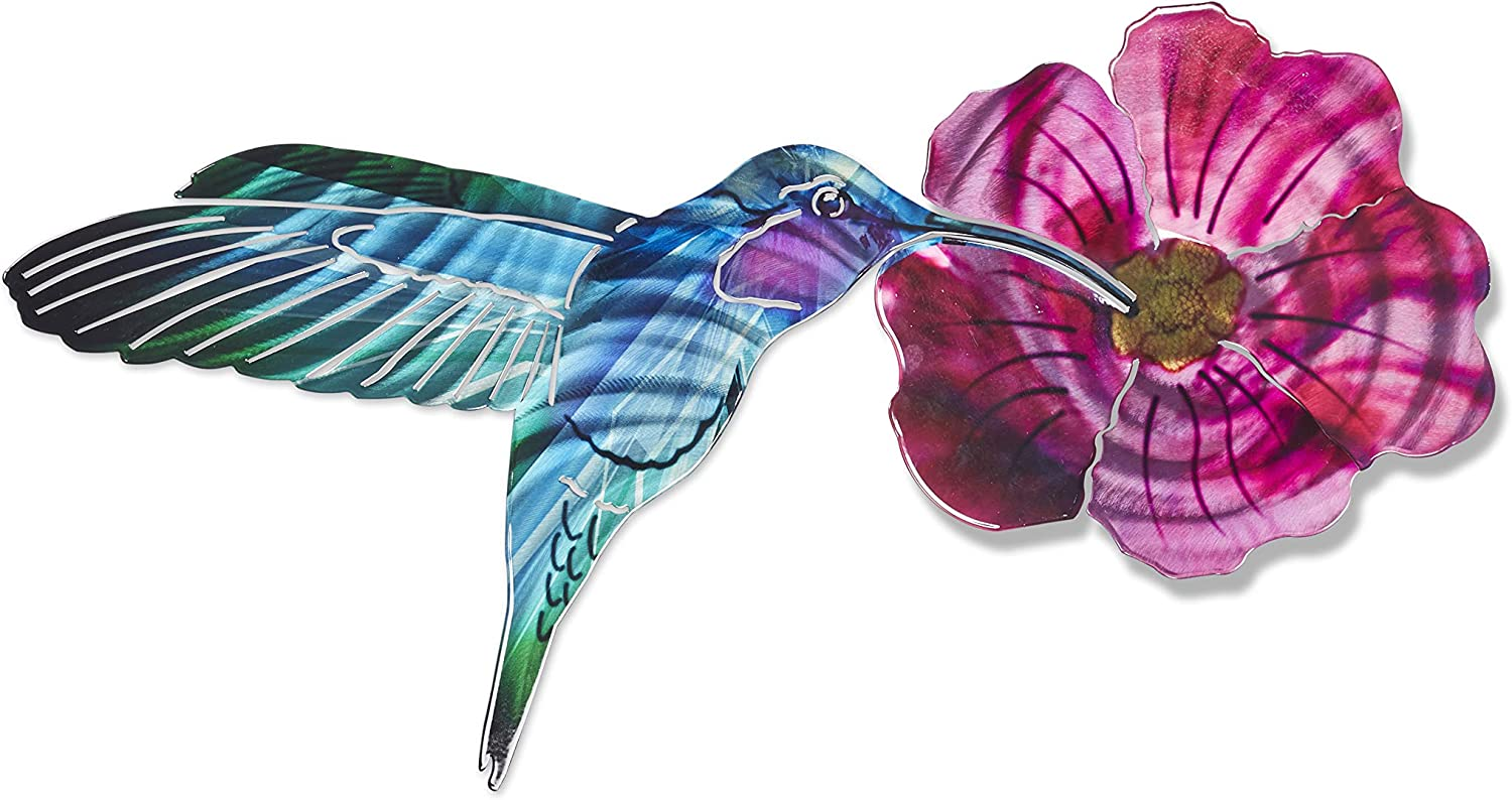 3D Metal Wall Art - Hummingbird and Flower Wall Decor - Handmade in the USA for Use Indoors or Outdoors