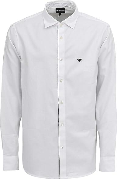Emporio Armani - Camisa de manga larga para hombre, color blanco Blanco blanco M: Amazon.es: Ropa y accesorios