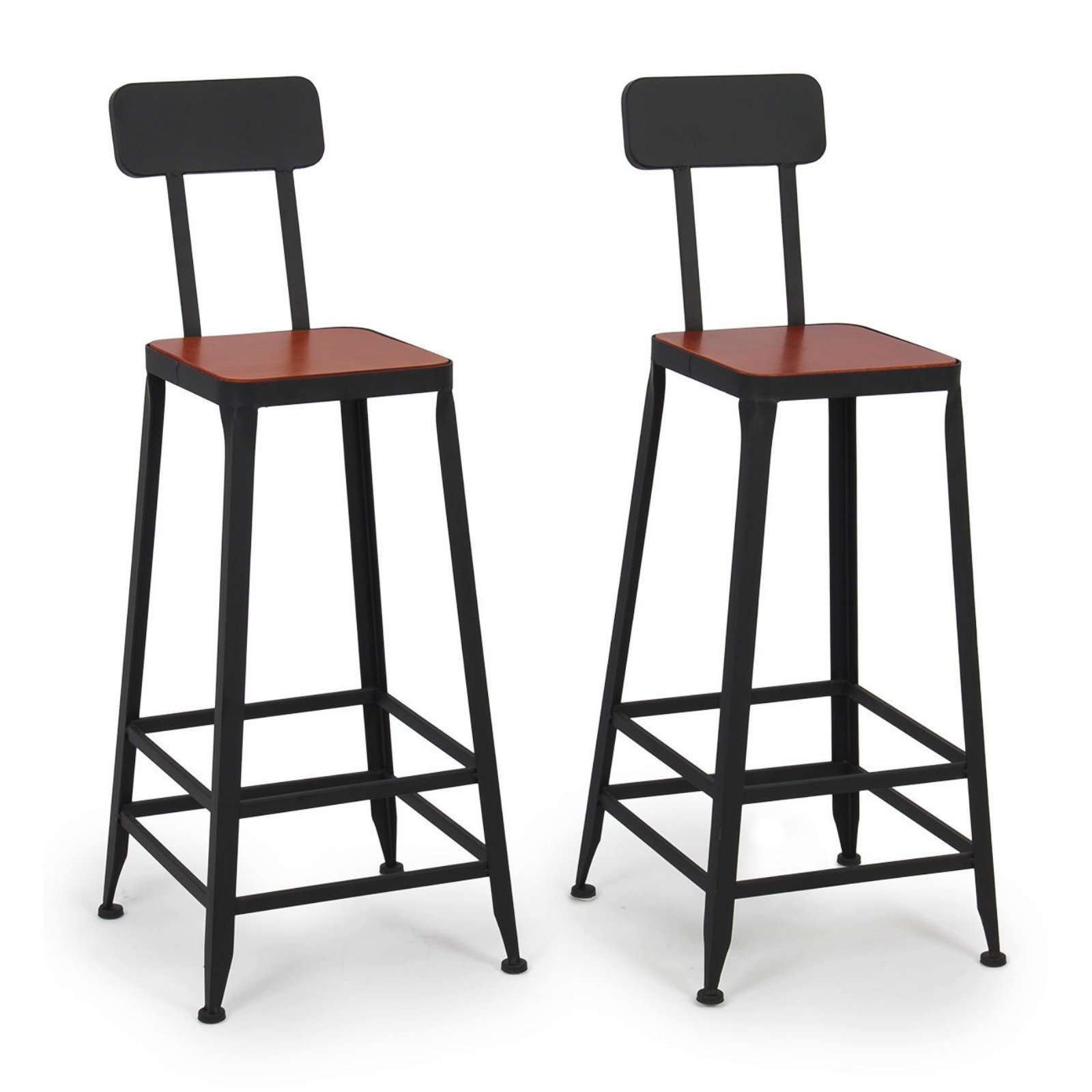 Set of 2 Industrial Bar Stools Pub Seat Durable Powder Coated finish Chairs Steel Height Counter New #577