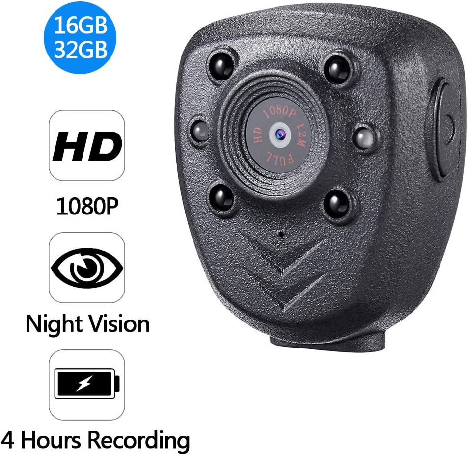 1080P 32GB Built in Small Security Camera - Cop Cam - Mini HD Wireless Nanny Cam with Night Vision Mini Spy Cam Hidden Camera for Outdoor Car Home Office Security - COP