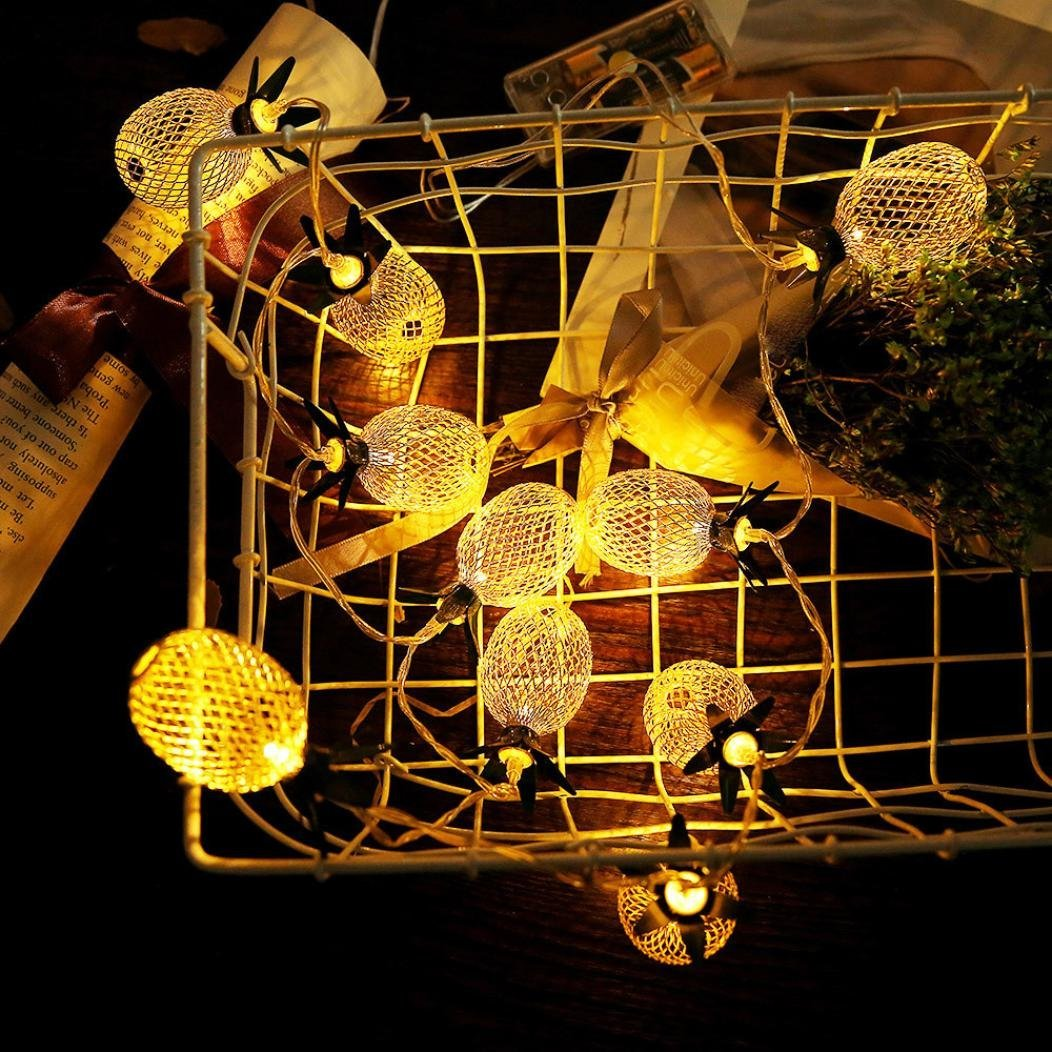 Aobiny Lamp string, LED Metal Hollowed Pineapple Holiday Decorative Lamp String (Gold) by Aobiny (Image #6)