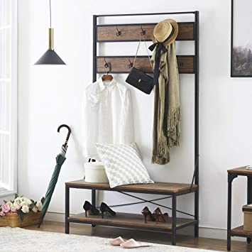 Astonishing Ok Furniture 72 Inch Hall Tree With Storage Bench Entryway Shoe Rack Bench With 7 Coat Hooks Perfect For Closets Hallway Or Bedroom Barn Wood Forskolin Free Trial Chair Design Images Forskolin Free Trialorg