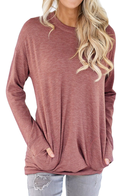 Shawhuwa Womens Long Sleeve Sweatshirt Loose T-Shirt Blouses Tops L Red