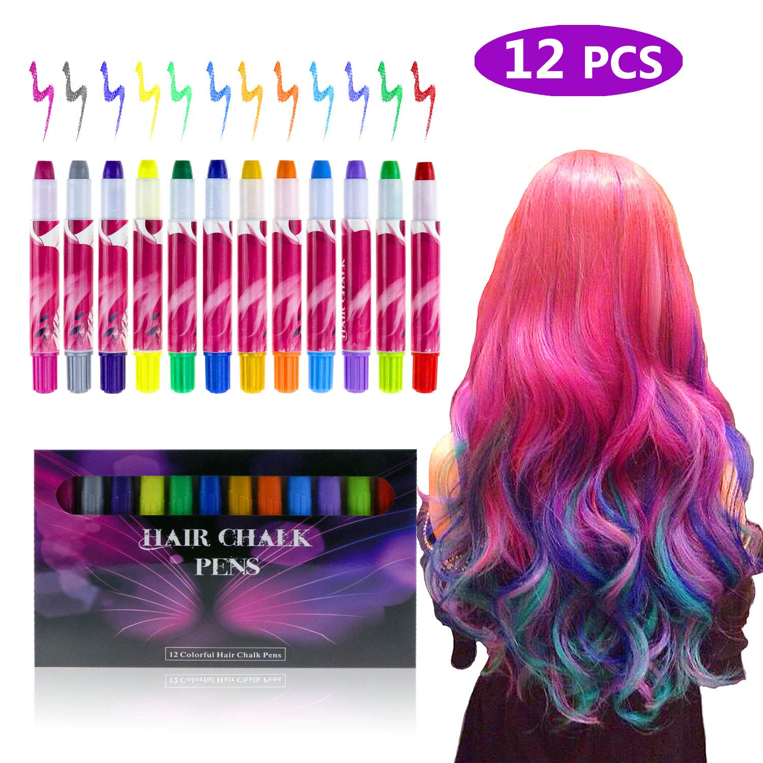 Zexuan 12 Colors Hair Chalk Pens Set Non-Toxic Temporary Washable Hair Dye Colors for Girls & Boys, for Party, Cosplay, Halloween, Christmas,Washes Out Easily and Last Longer With No Mess Zexuan Direct