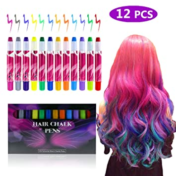 zexuan 12 colors hair chalk pens set non toxic temporary washable hair dye colors for