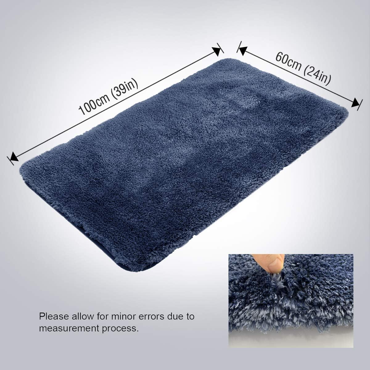 Machine Washable 50 x 80 cm Blue ITSOFT Non-Slip Bath Mat Water Absorbent Densely Woven Shaggy Soft Microfibers Bathroom Mat