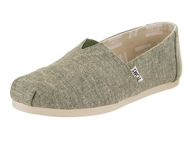Amazon.com | TOMS Womens Classics Leaf Green Slub Chambray Loafer | Loafers & Slip-Ons