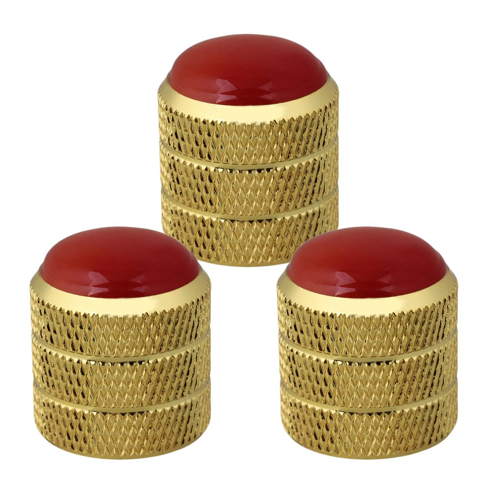 BQLZR Gold Circle Dome Knobs Red Glass Top for Guitar Bass Replacement Pack of 3