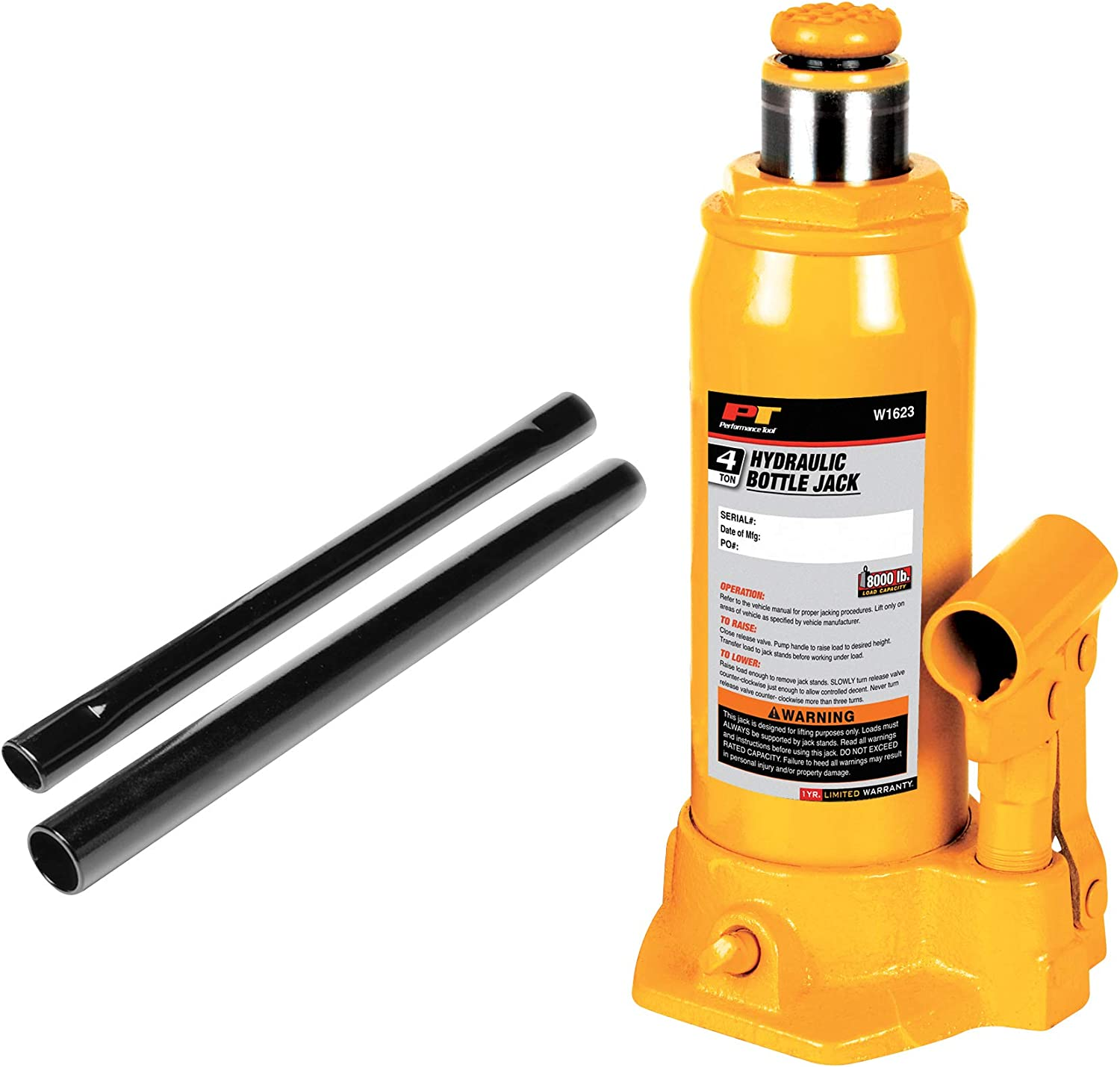 Heavy Duty Hydraulic Bottle Jack Performance Tool W1621 2-Ton 4,000 lbs.