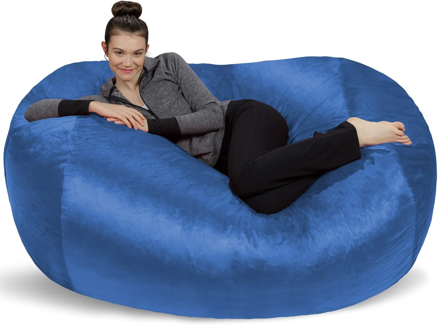 Sofa Sack - Plush Bean Bag Sofas with Super Soft Microsuede Cover - XL Memory Foam Stuffed Lounger Chairs for Kids, Adults, Couples - Jumbo Bean Bag Chair Furniture - Royal Blue 6'