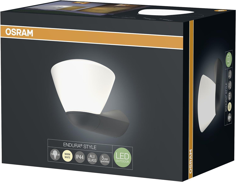 7W Equivalent 35W OSRAM Garantie 5 ans Applique//Lanterne ext/érieure LED ENDURA STYLE Verre bross/é Gris Anthracite