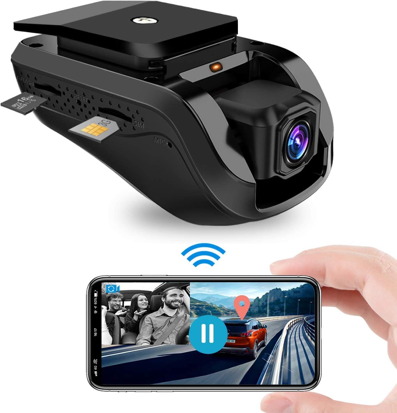 Dashcam, Jimi 3G Video Remoto WiFi Dual Dash Cámara de Coche Conducir Grabadora Frente 1080P con GPS Incorporado, Grabación en Bucle, Sensor G, Visión Nocturna - Tarjeta de 16GB TF Gratis