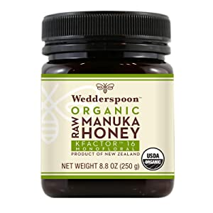 Wedderspoon Raw Organic Manuka Honey KFactor 16+, Unpasteurized, Genuine New Zealand Honey, Multi-Functional, Non-GMO Superfood, 8.8 Ounce