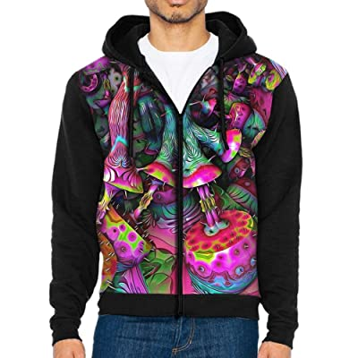 HenSLK Men's 3D Colorful Mushroom Thorn Casual Pocket Sweatshirt Zipper Hoodie Crew Hooded Shirts Athletic Sportwear