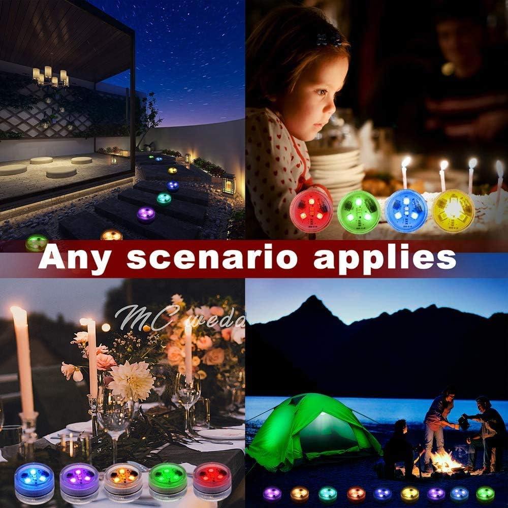 luces de linterna LED RGB con bater/ía con control remoto IR para estanque boda 10 piezas de luces LED sumergibles jarr/ón linterna fiesta en la piscina luces subacu/áticas impermeables