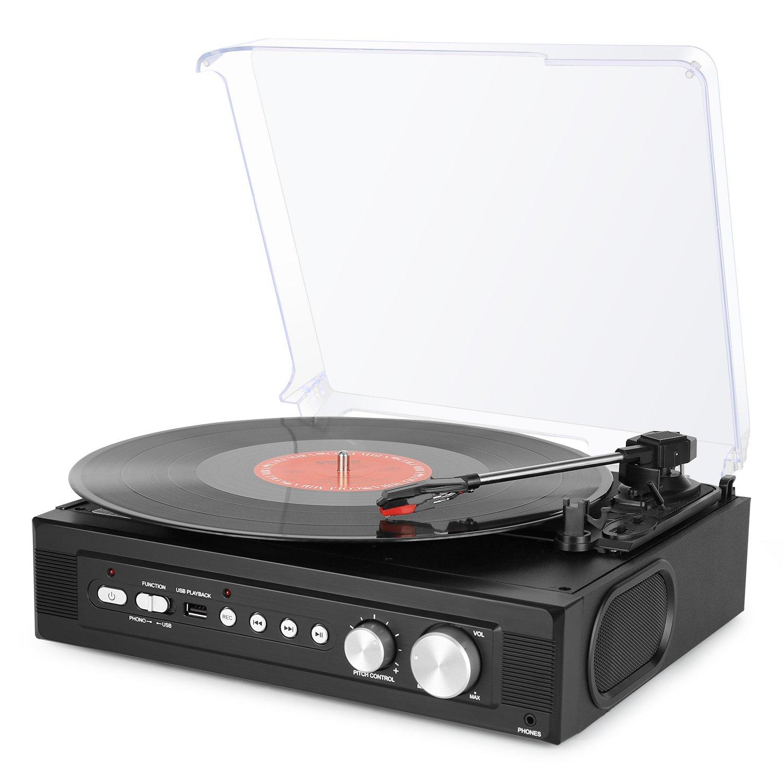 byone tocadiscos estéreo de correa de velocidades con altavoces incorporados graba de