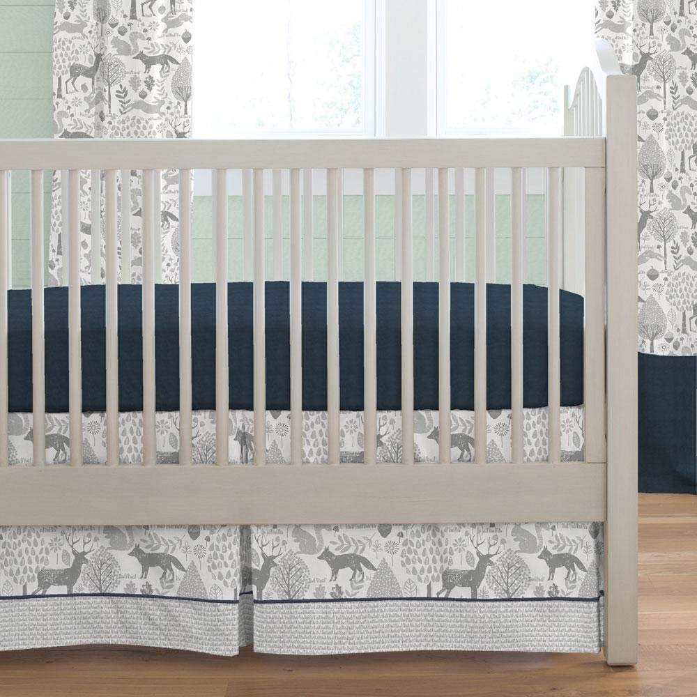 Carousel Designs Navy and Gray Woodland Crib Skirt Box Pleat 20-Inch Length