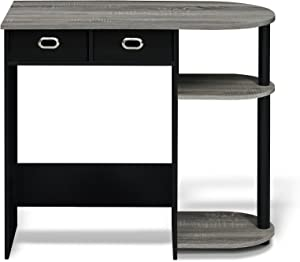 FURINNO Go Green Home Laptop Notebook Computer Desk/Table, With 2 Bin Drawers, French Oak Grey/Black/Black