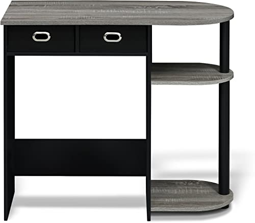 FURINNO Go Green Home Laptop Notebook Computer Desk Table, With 2 Bin Drawers, French Oak Grey Black Black