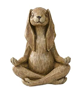Wind & Weather Meditating Rabbit Statue Indoor Outdoor Garden Sculpture Detailed Resin Animal Yard Art Decor 11.5 L x 7 W x 14.25 H