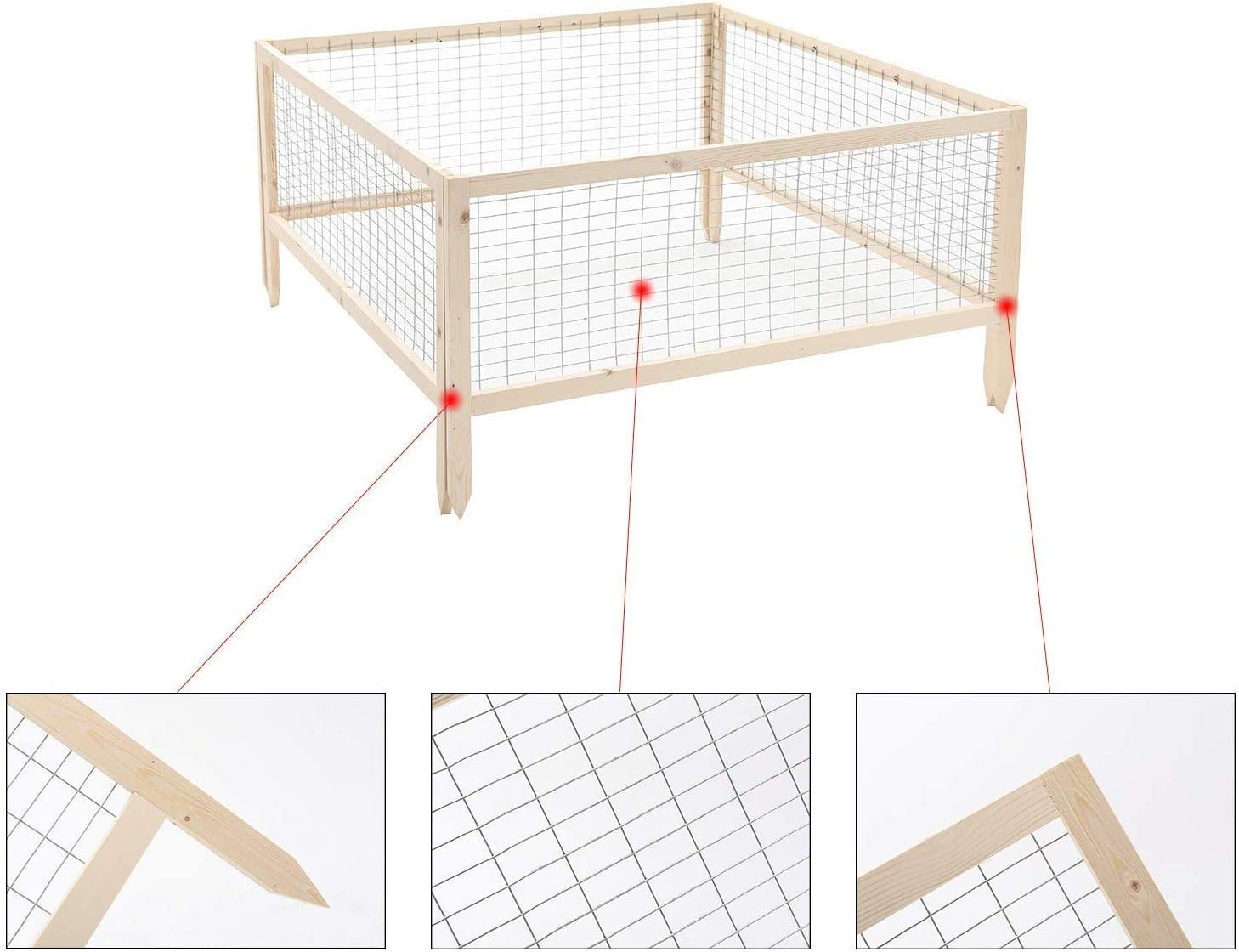 CrownLand Wooden Metal Frame Outdoor Garden Fence Kit for Vegetables Fruits Herb Grow,Patio or Yard Gardening 4 Pack Fast Assembly