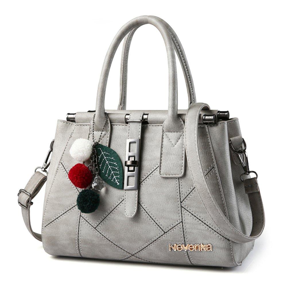 Nevenka PU Leather Handbag for Women Stitching Pattern Adjustable Shoulder Strap Top Handle Handbag with Ornaments (Style 1, Grey)