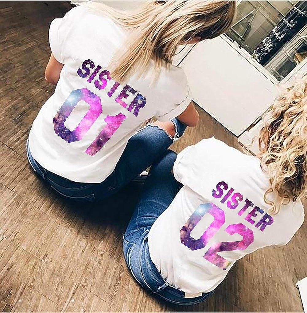 Best Freund Best Friends Sisiter Camiseta con Estampado de Colores para Dos Camisetas de ni/ña Mujer Tops Verano Parte Superior 2 Piezas BFF Regalos