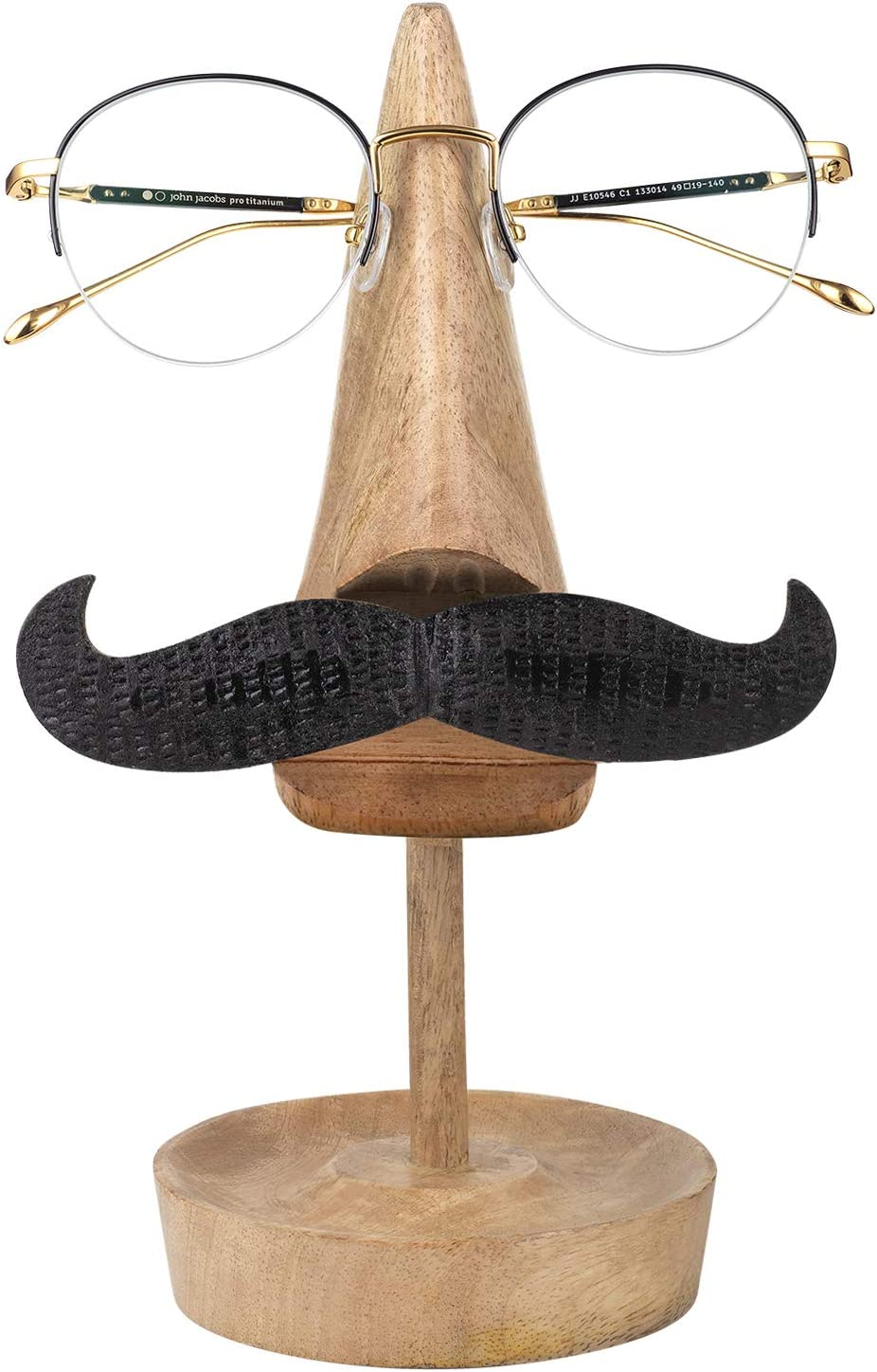 Aheli Wooden Hand Carved Mango Wood Spectacle Eyeglass Holder Mustache Sunglass Display Stand Home Office Desk Décor Unique Gifts Home Decoratives Study Room Shelf Bedside Library Décor