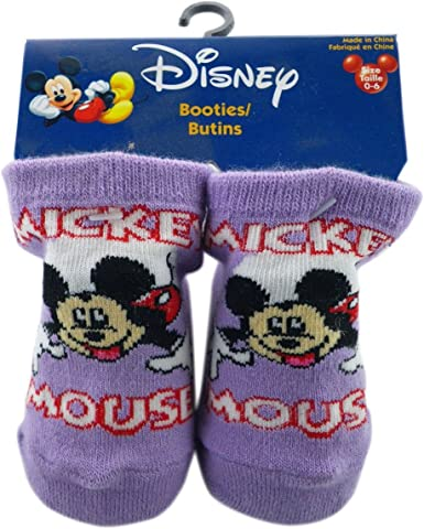 Purple Mickey Mouse Script Booty Socks Mickey Mouse Socks Size 0-6 Months