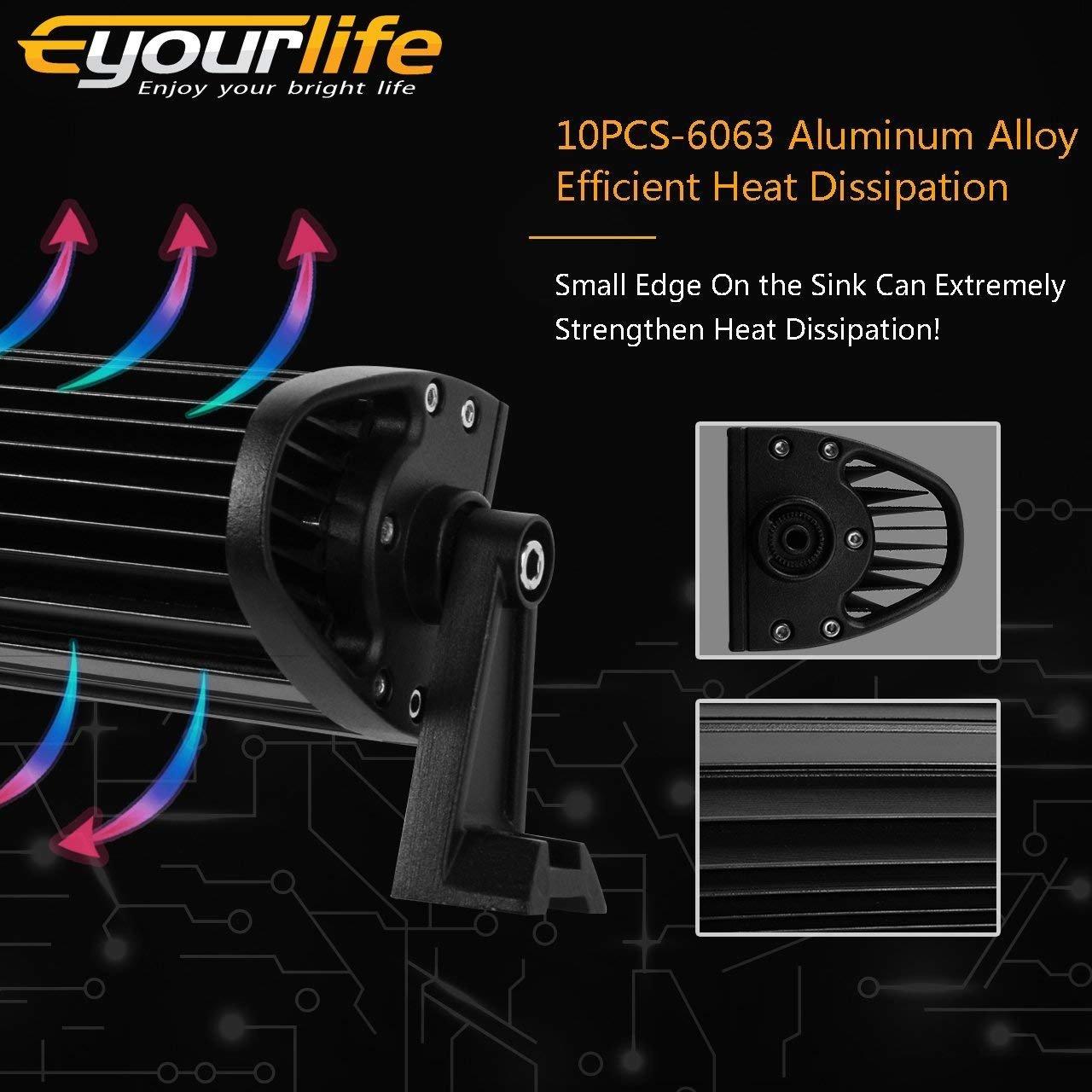 Eyourlife 300W LED Luz de Inundaci/ón//Luz Focos Proyector de Luz Faro de Luz de Trabajo Curvado Luz de Conducci/ón Impermeable para ATV Jeep SUV y Camiones