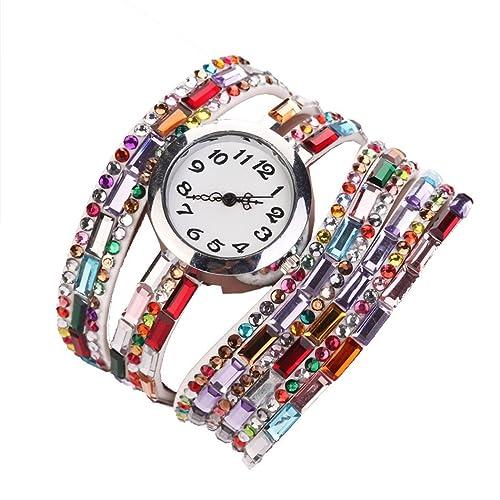 Minetom Damen Fashion Retro Quarzuhr Armreif Leder Armbanduhr Damenuhr Uhr
