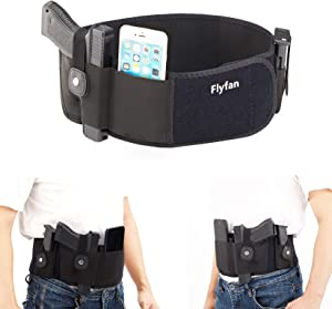 Flyfan Belly Band Holster Concealed Carry with Magazine Pouch- Breathable Neoprene Waist Holster for Men and Women - Fits Glock,S&W M&P, Sig Sauer, Beretta, 1911, etc