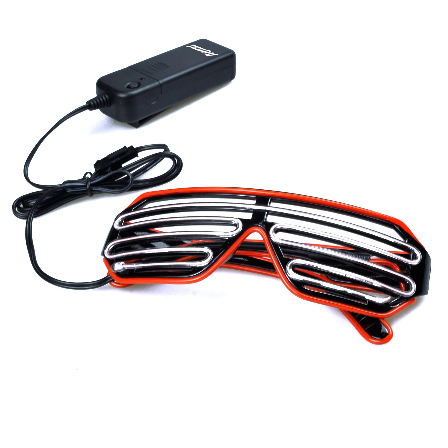 PINFOX Shutter El Wire Neon Rave Glasses Flashing LED Sunglasses Light Up Costumes for 80s Party RB03 EDM Blue + Orange