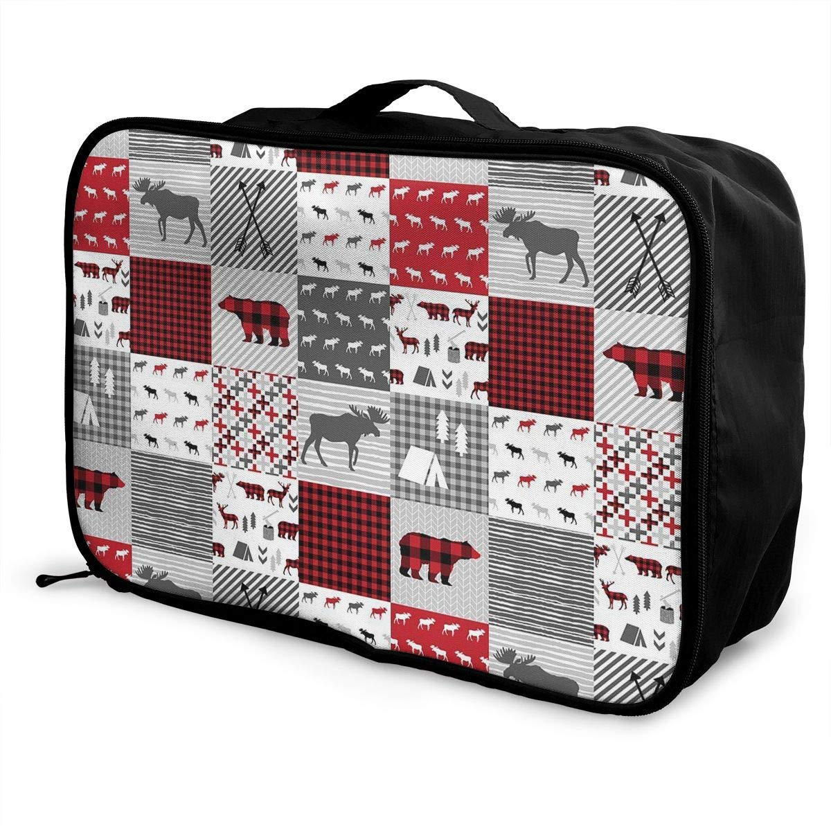 Portable Luggage Duffel Bag Buffalo Plaid Travel Bags Carry-on In Trolley Handle