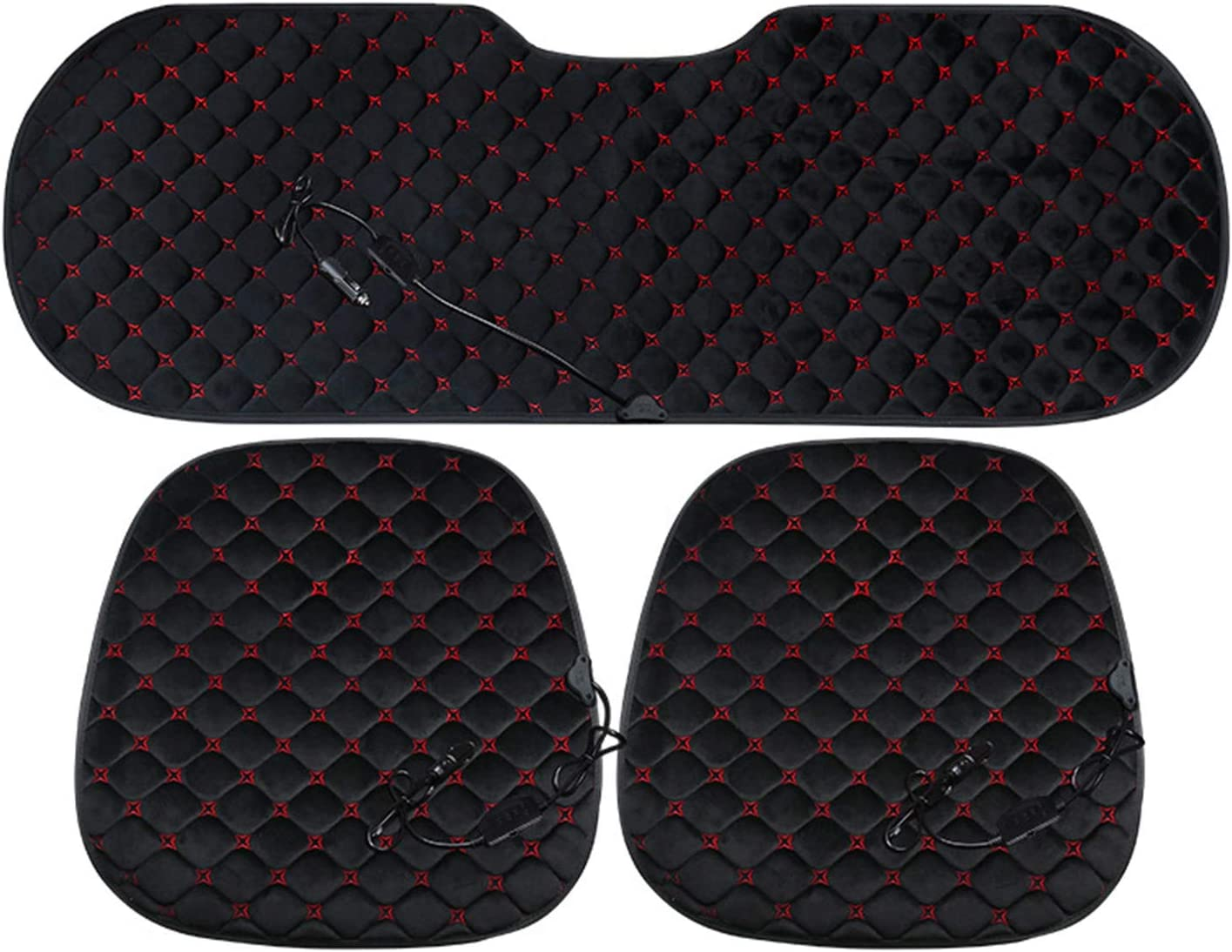 Car Heating Cushion 12V Electric Heating Cushion Winter Warm Small Square Pad Without Backrest Black