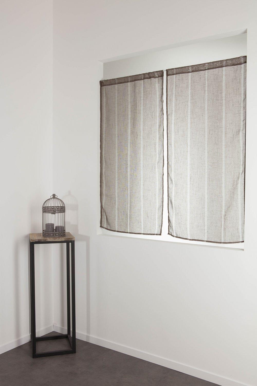 RideauDiscount Paire Voilages Vitrages 60 x 120 cm Passe Tringle Tissu Léger Effet Gaze de Lin à Rayures Verticales Style Naturel Marron Poivre
