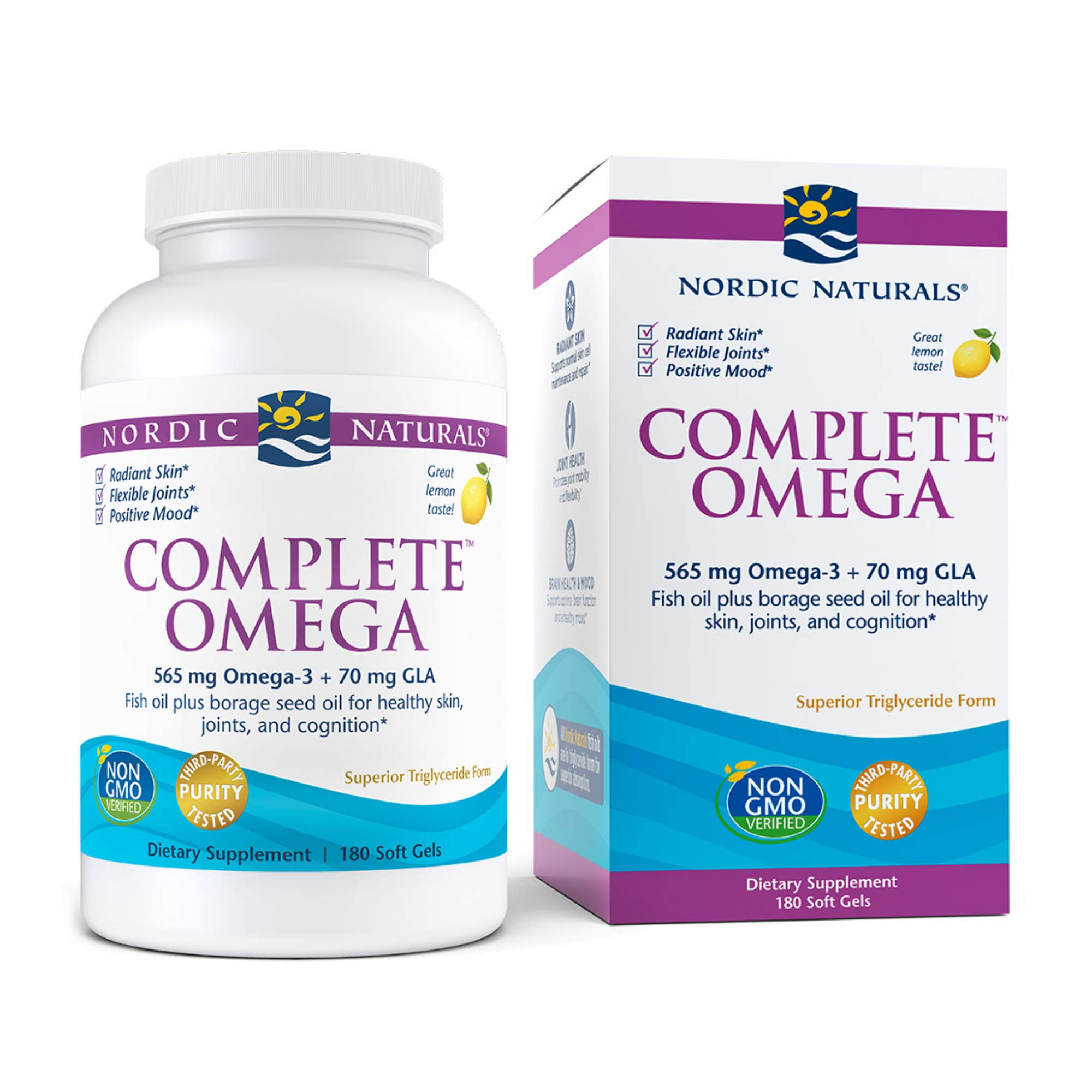 Nordic Naturals Complete Omega, Lemon Flavor - 565 mg Omega-3-180 Soft Gels - EPA & DHA with Added GLA - Healthy Skin & Joints, Cognition, Positive Mood - Non-GMO - 90 Servings