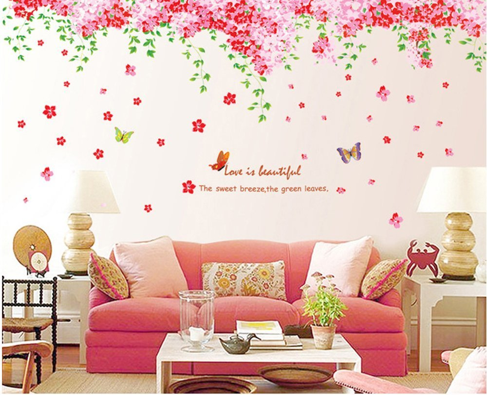 Amazon wall decal pink flowers blue butterflies home sticker amaonm large huge fashion pink romantic cherry blossom flower vine butterfly wall corner decal wall stickers amipublicfo Gallery