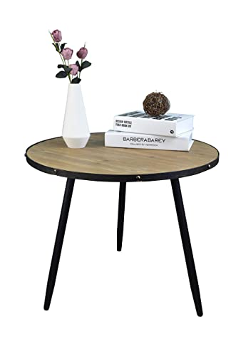 Aojezor Coffee Table,End Table,Bedside Table,Nightstand,Sofa Side Table, Round Home Furniture for Small Space,Under 100,Metal Wood,Accent Brown Black