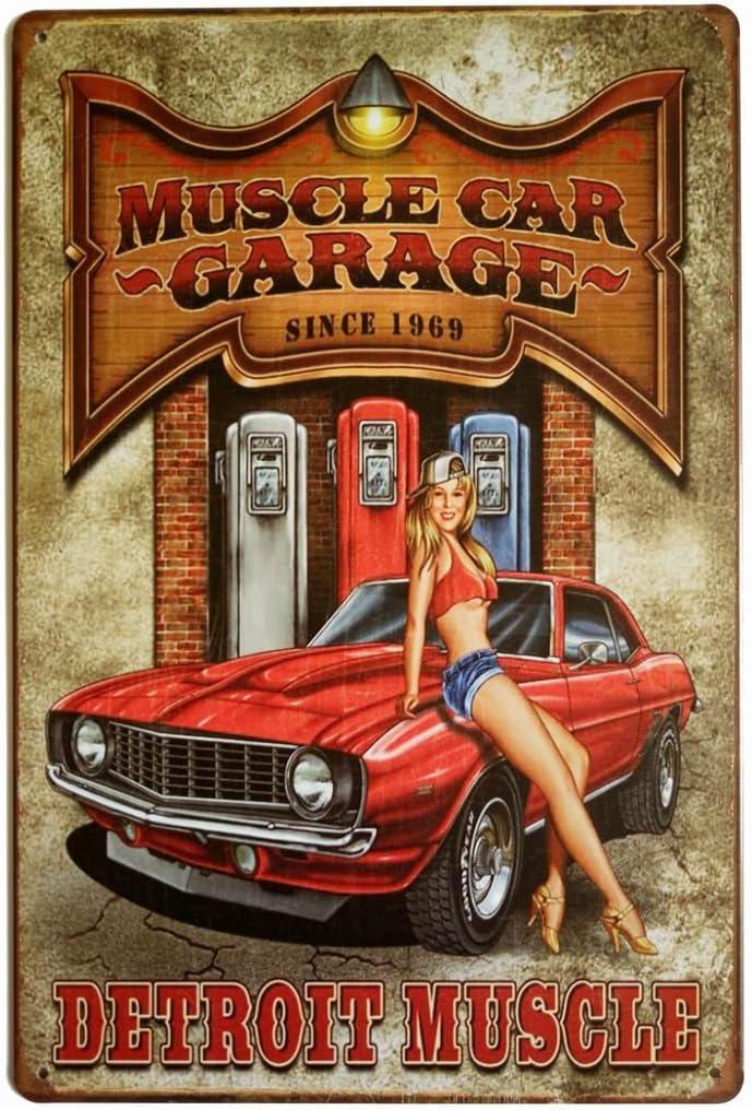 ERLOOD Muscle Car Garage Since 1969 Detroit Muscle Retro Vintage Decor Metal Tin Sign 12 X 8 Inches