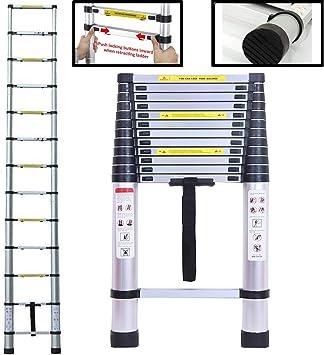 Escalera plegable multiusos de 5 m de aluminio telescópico portátil de 16,5 pies de peso ligero máx. carga 150 kg: Amazon.es: Bricolaje y herramientas