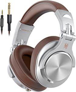 OneOdio A71 Wired Over Ear Headphones, Studio Headphones with SharePort, Professional Adapter-Free Monitor Recording & Mixing Headphones with Stereo Sound for Electric Drum Piano Guitar Amp (Silver)