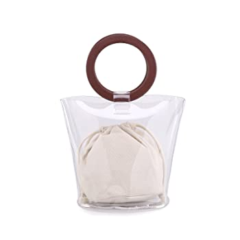 Womens PVC Clear Purses and Handbags Transparent Bucket Bag for Work