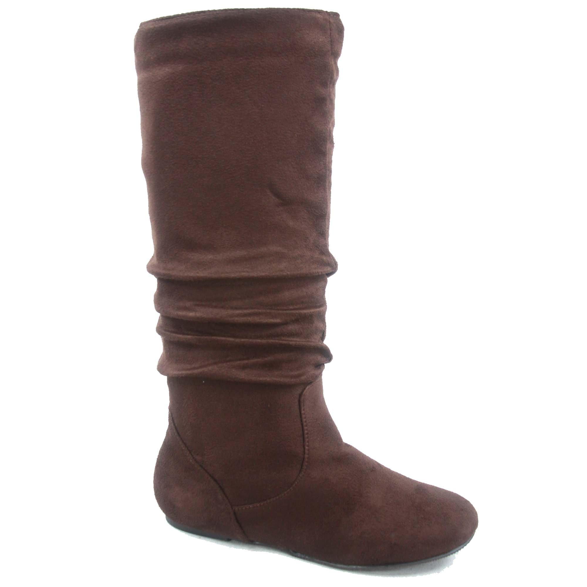 Top Moda Data-1 Women's Shoes Cute & Comfort Round Toe Flat Heel Slouchy Mid Calf Boot (8.5, Brown) by Top Moda (Image #1)