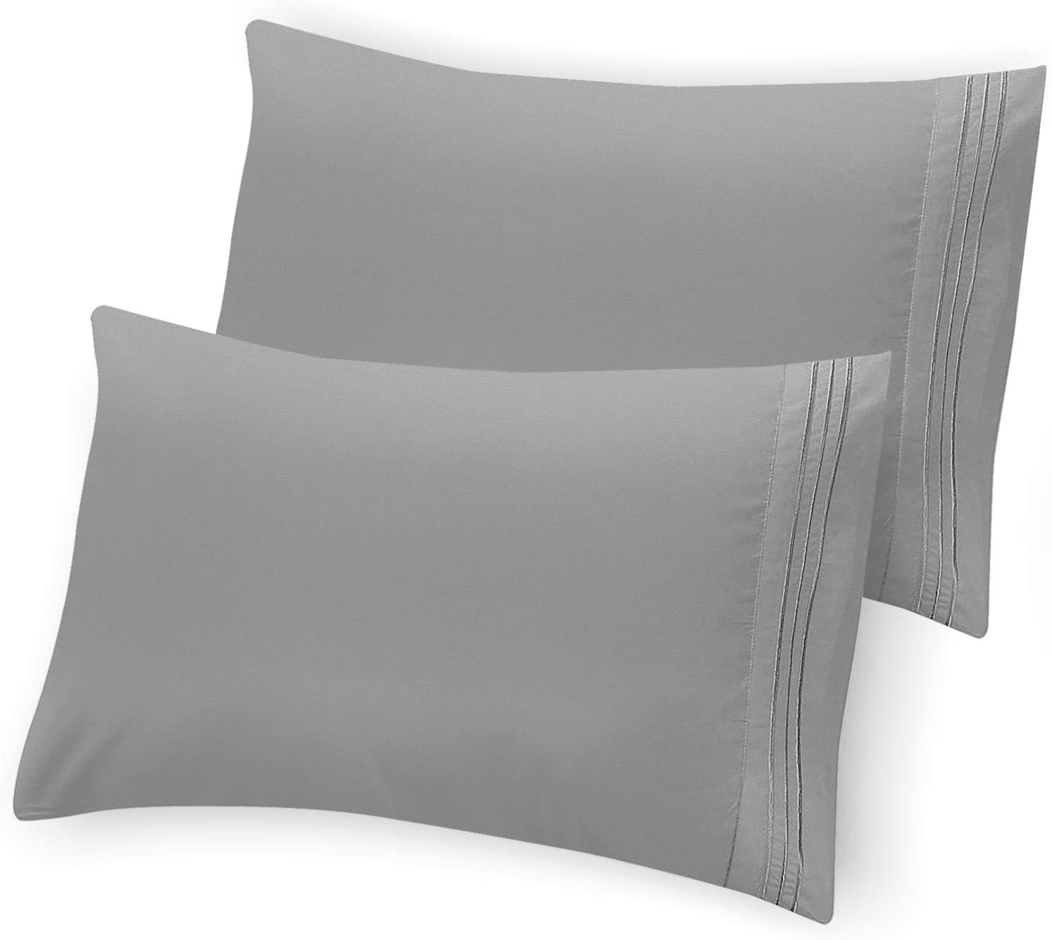 Hannah Linen Grey Pillowcase Set of 2 - Brushed Microfiber 1800 Thread Count Pillow Cases - Wrinkle, Shrinkage, Fade Resistant & Hypoallergenic Envelop Closure Pillow Covers (Grey, King)