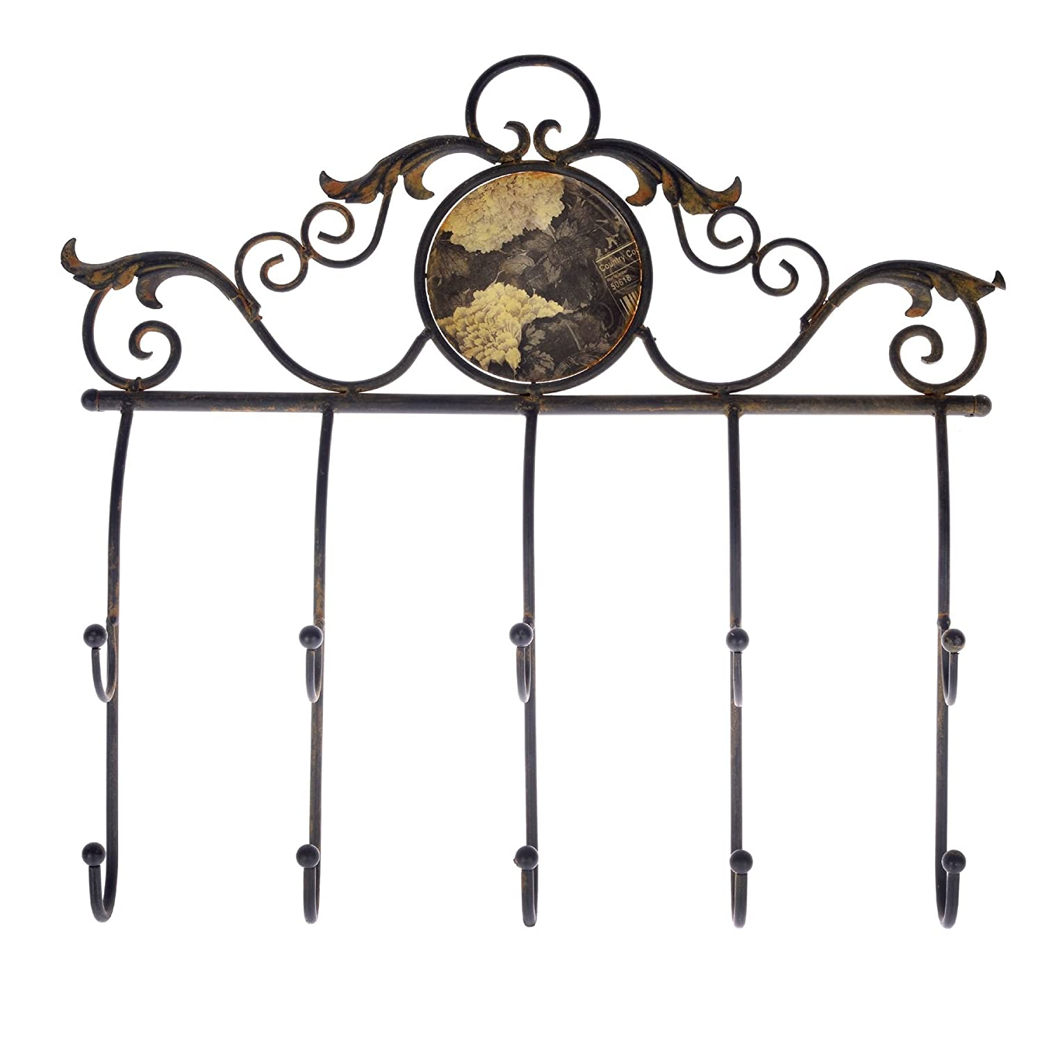 Homescapes Black Coat Hook Rack Ornate Rustic Design Suitable for Indoor and Outdoor Use