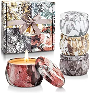 TOFU Autumn Decor Scented Candles,Fall Home Decor Candle Gift Set Essential Oil for Stress Relief and Aromatherapy, Natural Soy Wax Travel Tin Candle Set of 4 (5.65Oz)